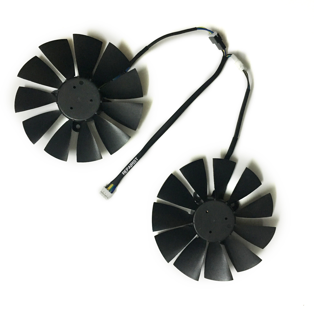 2pcs RX580/570/470 graphics card fan for ASUS DUAL-RX580-4G/8g ROG Strix RX570 RX 470 OC Video cards cooling 2pcs lot computer radiator cooler fans rx470 video card cooling fan for msi rx570 rx 470 gaming 8g gpu graphics card cooling