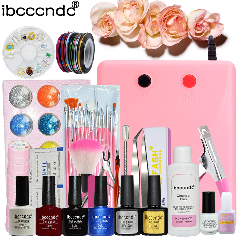 Nail Art Tools Set 36W UV Lamp & 4 Color 10ml Gel Polish Nail Base Top Coat 6 Colors Flower Gel Polish Remover Pad Manicure Kit nail art manicure tools set uv lamp 10 bottle soak off gel nail base gel top coat polish nail art manicure sets