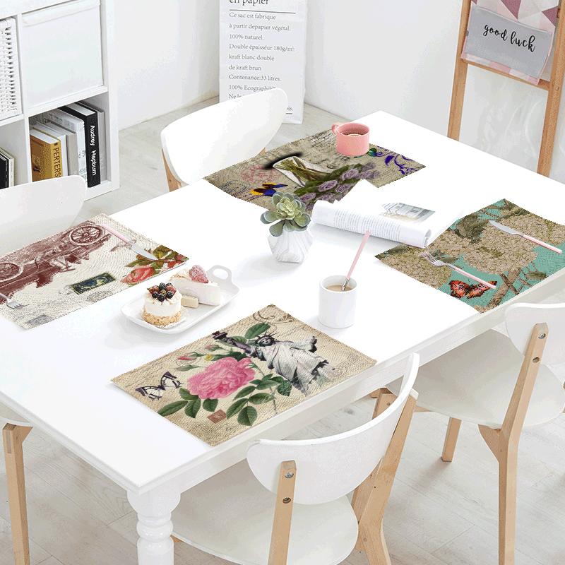 42*32cm Statue Of Liberty Kitchen Decor Banquet Dinner Tableware Napkin Summer Table Napkin With Vintage Pink Flower Hummingbird
