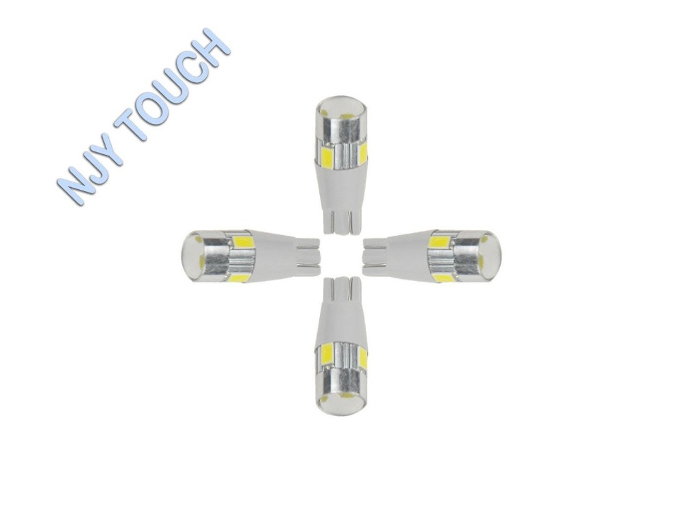 4PCS Natural White 5630 T10 6SMD W5W 2825 158 192 194 LED Wedge Bulbs Tail light