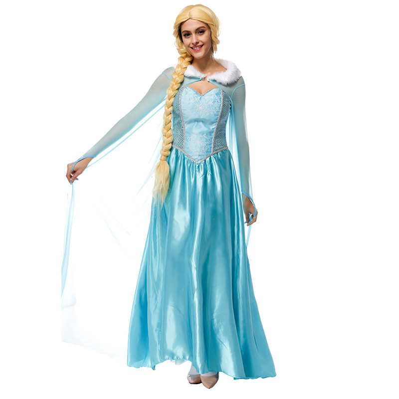Adult Women Snow Princess Halloween Movie Character Cosplay Party Costume  Sexy Fancy Dress
