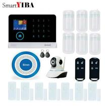 SmartYIBA Touch Keypad Wifi GSM GPRS Home Security Burglar Alarm Polish Russian Spanish Voice Wireless Strobe Siren IP Camera
