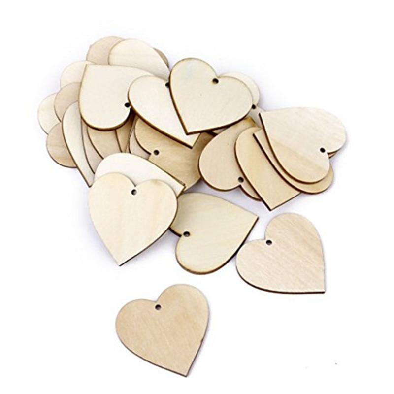 25 piezas 40 mm Corazón en blanco Rodajas de madera Discos Ruedas de - Para fiestas y celebraciones