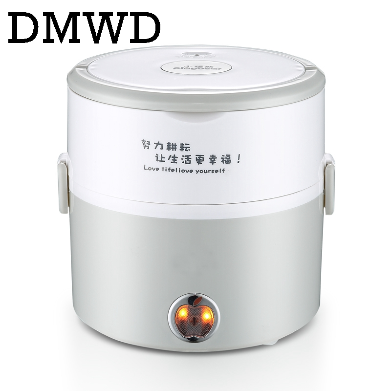 DMWD MINI Electric insulation heating lunch box stainless steel cooking steamer two 2 layers hot rice cooker food container 1.2L stainless steel electric double ceramic stove hot plate heater multi cooking cooker appliances for kitchen 220 240v vde plug
