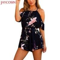 JAYCOSIN Women Casual Short Sleeve Playsuit Cotton Blended Ladies Jumpsuit Romper Summer Floral Playsuits Jan 15