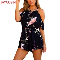 JAYCOSIN Women Casual Short Sleeve Playsuit Cotton Blended Ladies Jumpsuit Romper Summer Floral Playsuits Jan 15