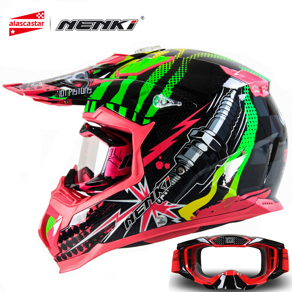 NENKI Fashion Motocross Full Face Helmet Extreme Sports Motorcycle ATV Dirt Bike MX BMX DH MTB Racing Helmet with Goggles 315 maluokasa motorcycle protective gears flexible cross helmet face mask motocross goggles atv dirt bike utv eyewear gear glasses