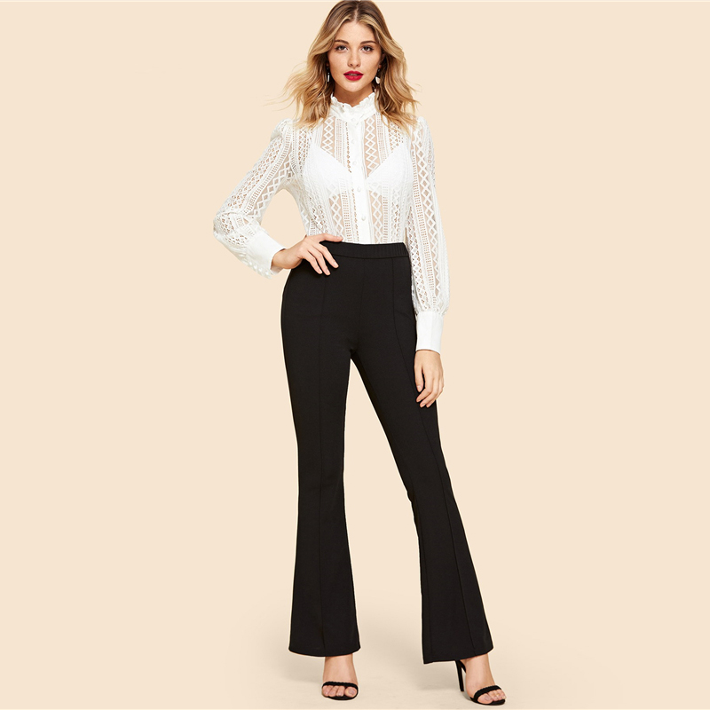 SHEIN Black Vintage Solid Contrast Binding Flare Leg Elastic Waist Elegant Pants Autumn Office Lady Workwear Women Trousers 11