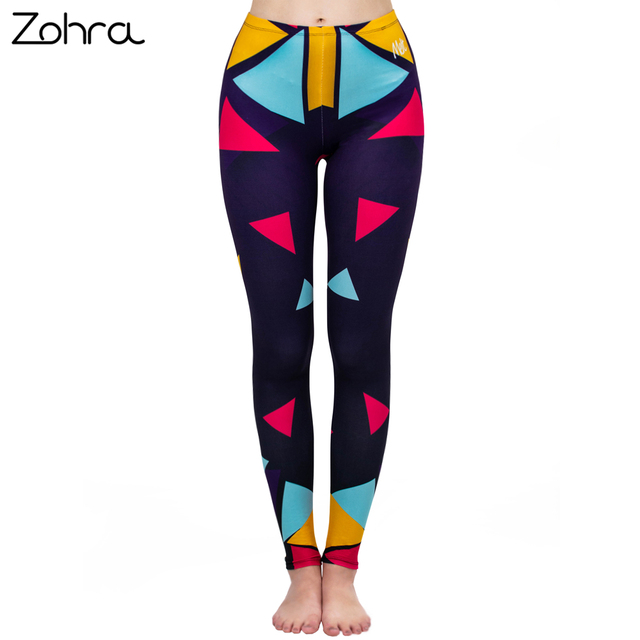 Zohra Fashion Women Legging Color Square Stitching Printing leggins High Waist Punk Leggings Workou Legins Slim Fitness Pants