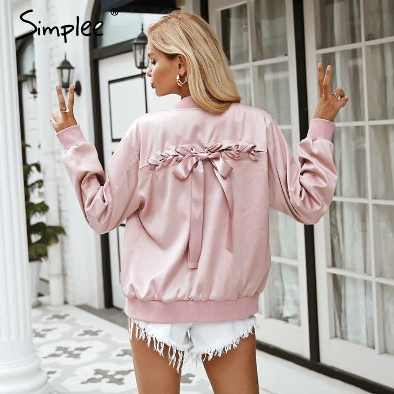 Simple And Elegant White Satin Sweetheart With Jacket: Simplee Elegant Satin Basic Jacket Coat Women Lace Up