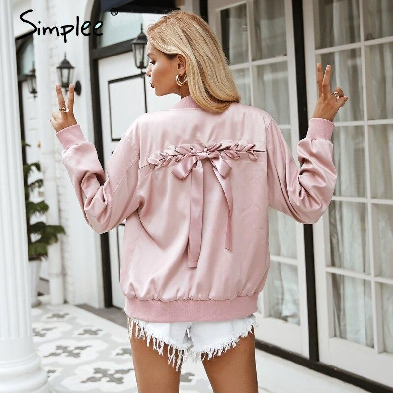 Simplee Elegant satin basic jacket coat Women