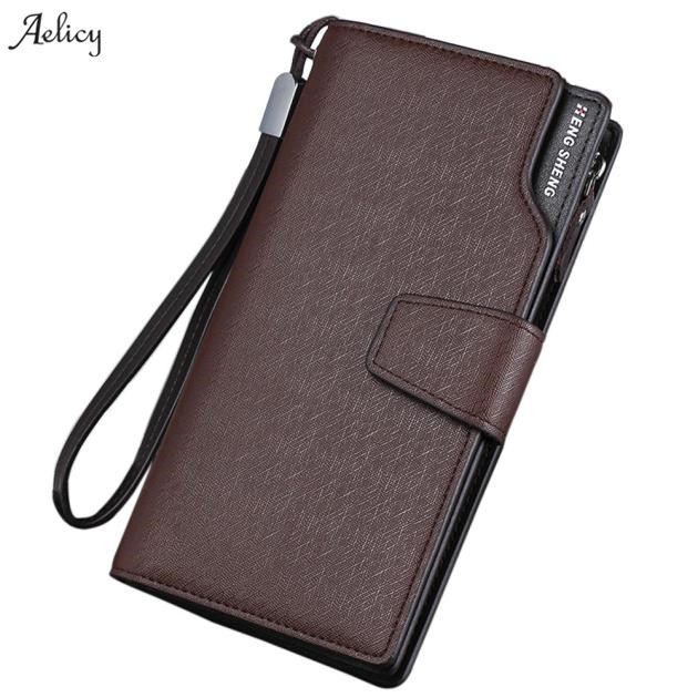 Aelicy dropship new 2018 hot @@ Men Long Bifold Business Leather Wallet Money Card Holder Coin Purse carteira feminina masculina aelicy women wallet printing coins change girls purse clutch zipper zero phone key bags dropship new 2018 hot carteira feminina