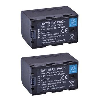 2Pcs 5200mAh SSL-JVC50 JVC50 Battery Accu for JVC SSL JVC70 GY-HMQ10, GY-LS300,GY-HM200,GY-HM600,HM650 Camcorders