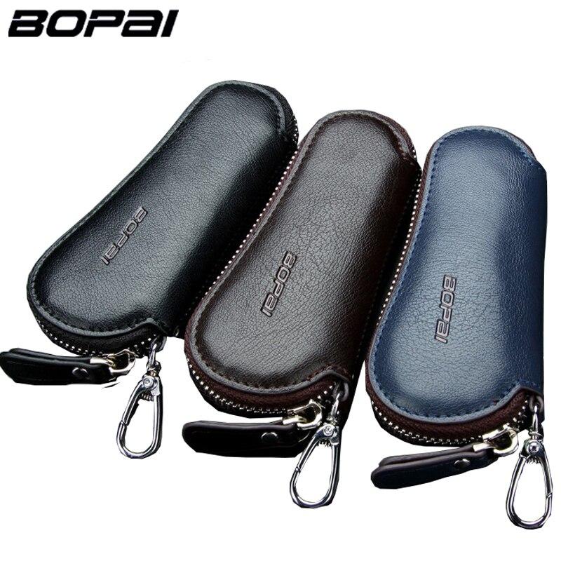 Genuine Leather Car Key Wallets Men Key Holder Housekeeper Keys Organizer Women Keychain Covers Zipper Key Case Bag Pouch Purse