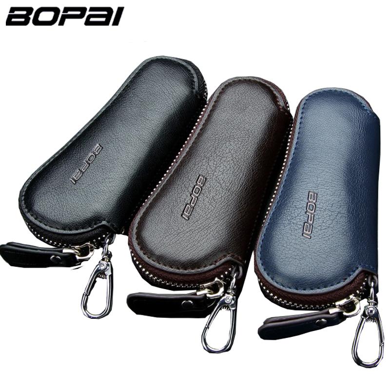 Genuine Leather Car Key Wallets Men Key Holder Housekeeper Keys Organizer Women Keychain Covers Zipper Key Case Bag Pouch Purse
