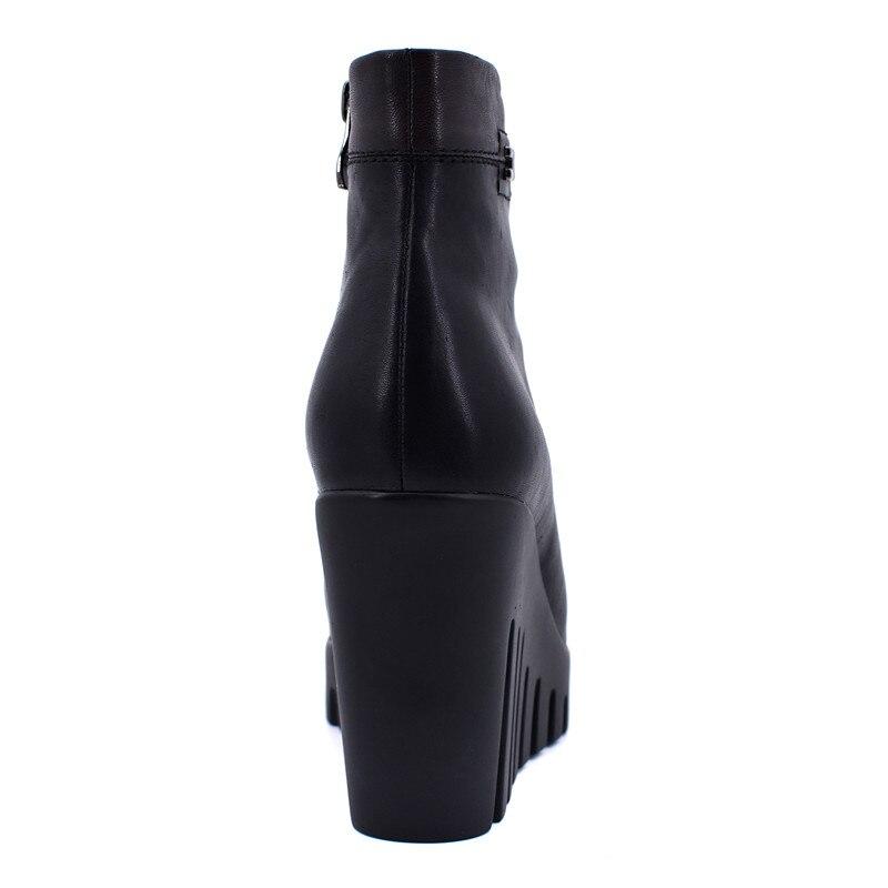 black Super Short Black Zip Modo Di Lana Genuino Nuovo Zeppa Scarpe Plush Alti Piattaforma Wool Caviglia Inverno Odetina Thick Cm tacchi Pelle Caldo 10 Stivali In Donna Laterale zgB4qxwAq