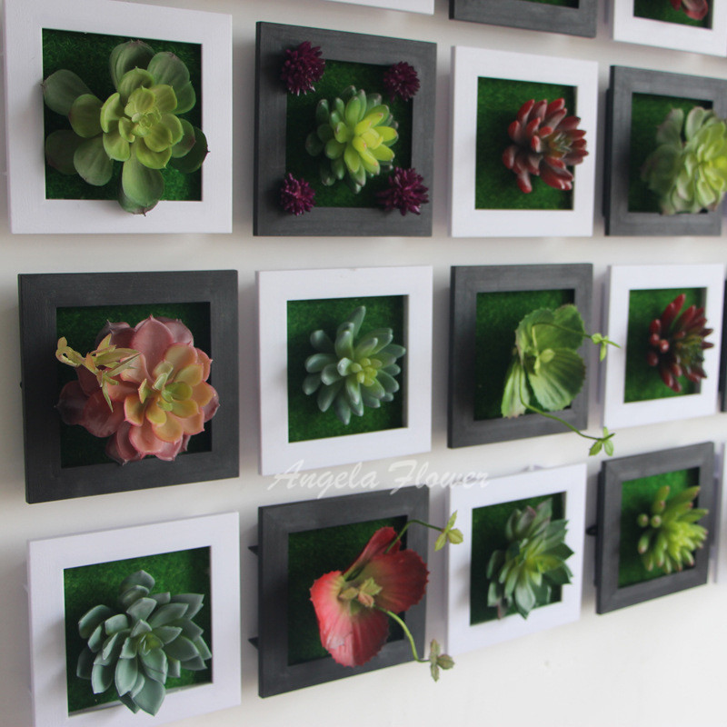 Black Creative D Metope Succulent Plants Imitation Wood Photo Frame Wall Decoration  Artificial Flowers Home Decor
