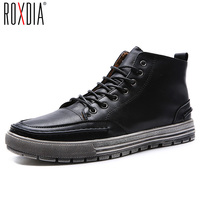 ROXDIA Genuine Leather Men Ankle Boots Snow Winter Warm Fashion Work Male Waterproof For Mens Shoes