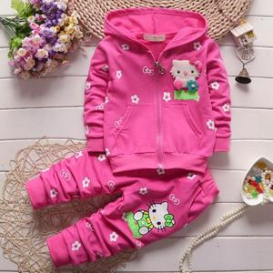 2019 Spring Autumn Baby Girls Clothes Set Cartoon Hello Kitty fashion Hoodied Suit Children Cardigan Sweaters+Pant Set 1-4Y