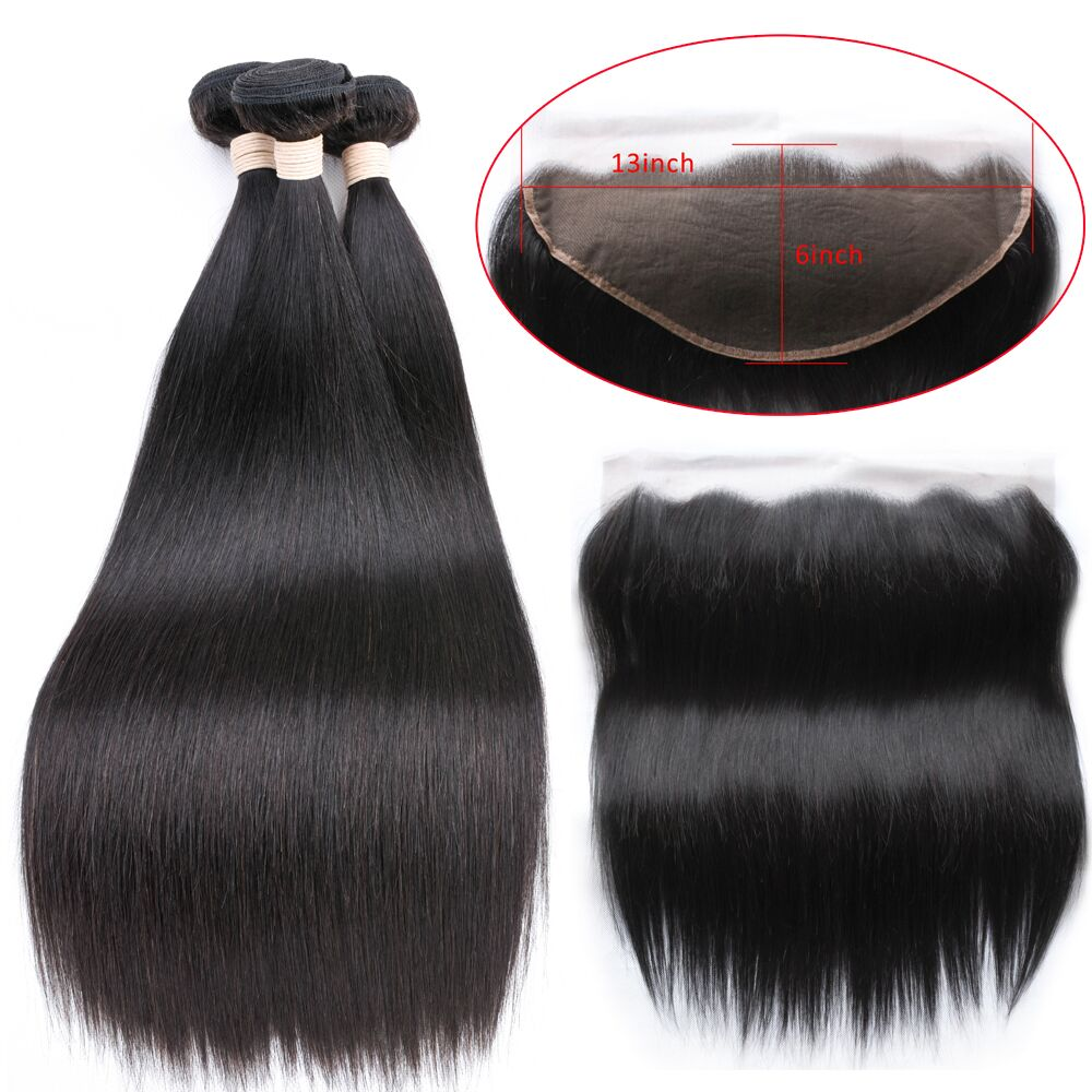 Beaudiva Brazilian Straight Hair Weave 3 Bundles With 13*6 Frontal Closure Lace Frontal With Human Hair Extension Hair Bundles