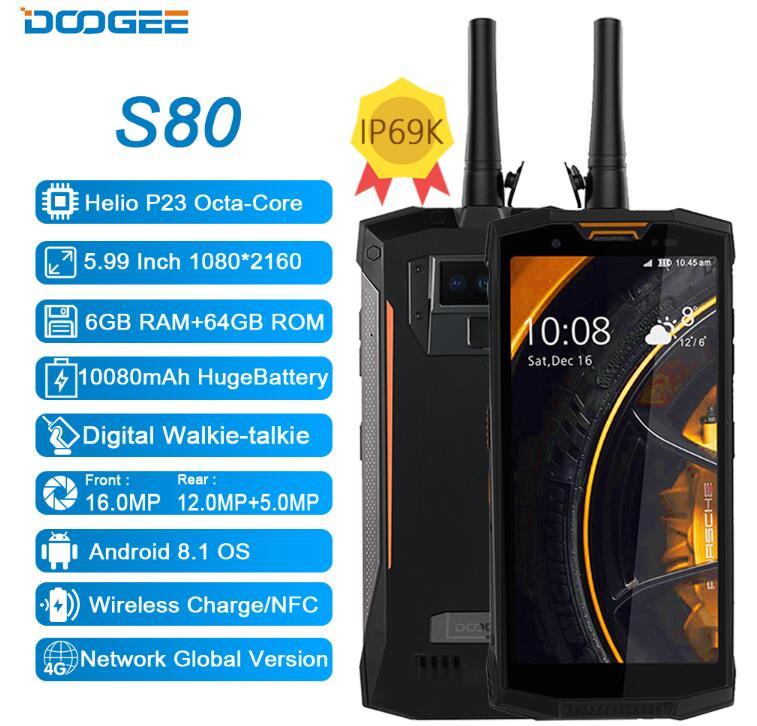 DOOGEE S80 5.99 pouce 18:9 10080 mah Charge Rapide Helio P23 MT6763 Octa Core IP68 IP69K Étanche 6 gb + 64 gb NFC OTG 4g Mobile Téléphone