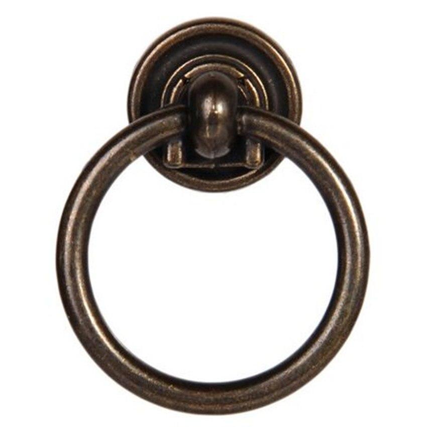 Vintage Shaky Drop Rings Furniture Knob Bronze Drawer Shoe Cabinet Knob Pull  Antique Brass Drop Rings