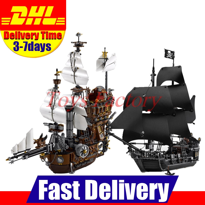 DHL LEPIN 16002 Metal Beard's Sea Cow+16006 Black Pearl Ship Building Blocks Bricks Toys Gifts Clone 70810 4184 lepin 16002 22001 16042 pirate ship metal beard s sea cow model building kits blocks bricks toys compatible with 70810