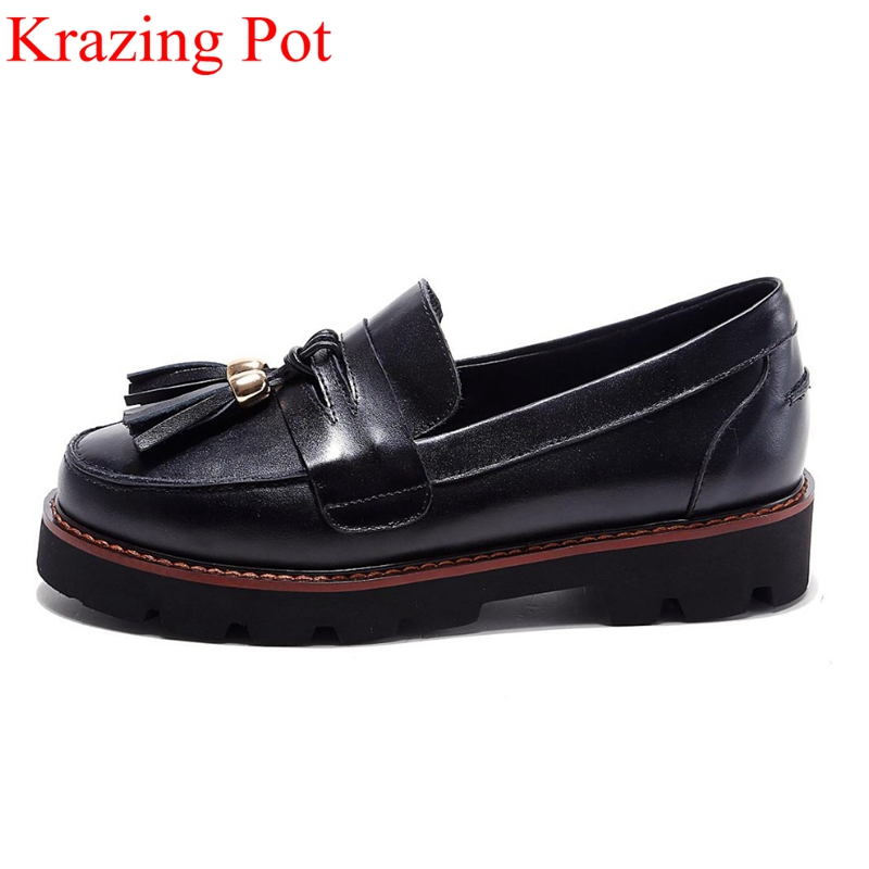Fashion Superstar Brand Spring Shoes Tassel Round Toe Thick Heel Women Pumps Slip on Shallow Party Office Lady Casual Shoes L fashion brand slip on shallow round toe crystal bowtie med diamond thick heels women pumps sweet office lady runway shoes l15