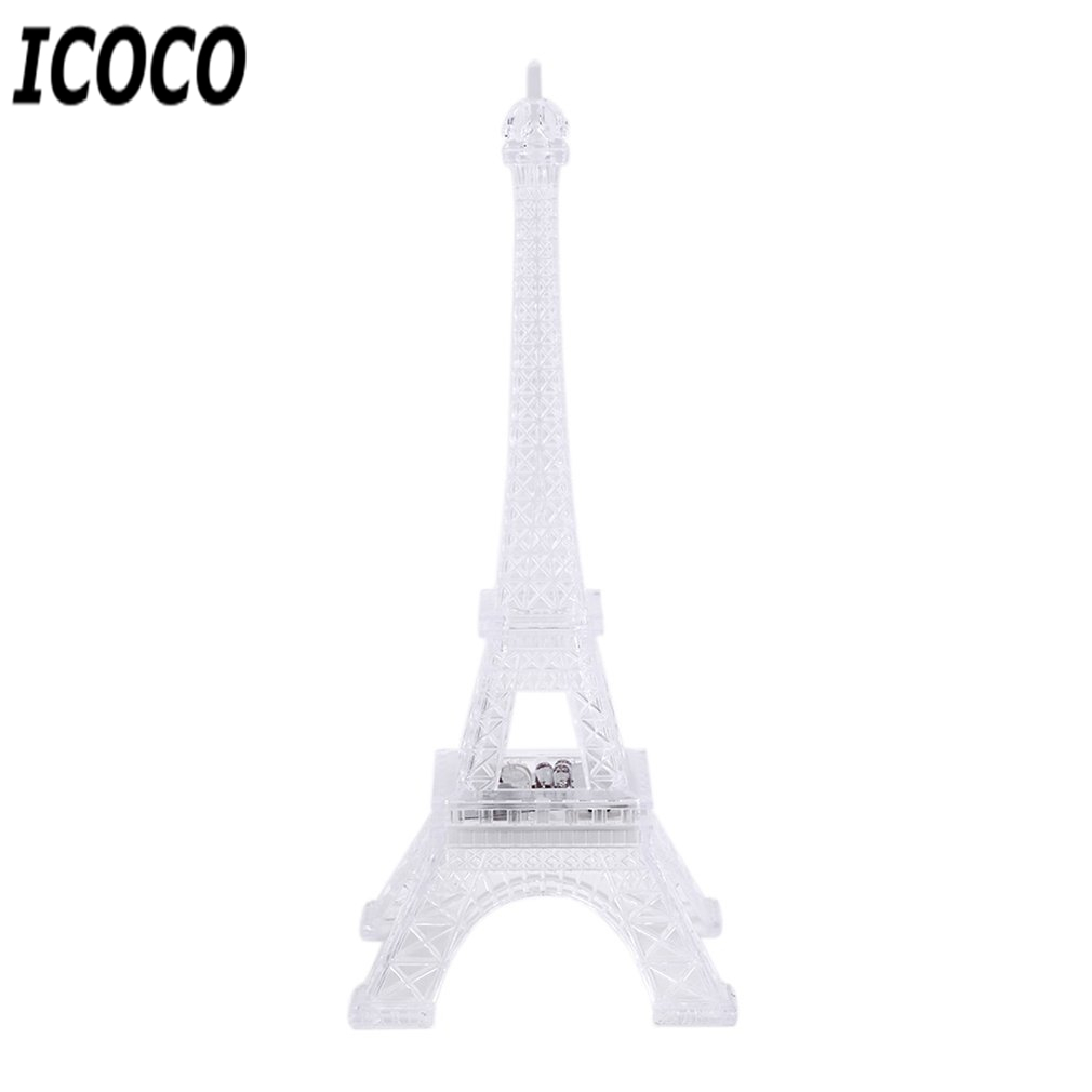 ICOCO 1pcs 7 Color Changing Eiffel Tower LED Night Light Desk Table Romantic Mood Light Table Lamp Bedroom Decor Romatic Gift