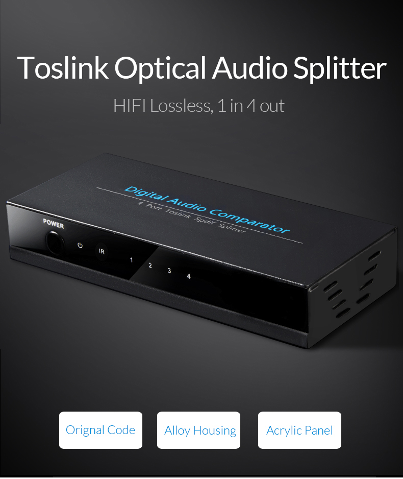 nnlink SPDIF TOSLINK Digital Optical Audio Splitter 1x4 Switch Switcher Splitter 1 In 4 Out Video Converter Remote Control