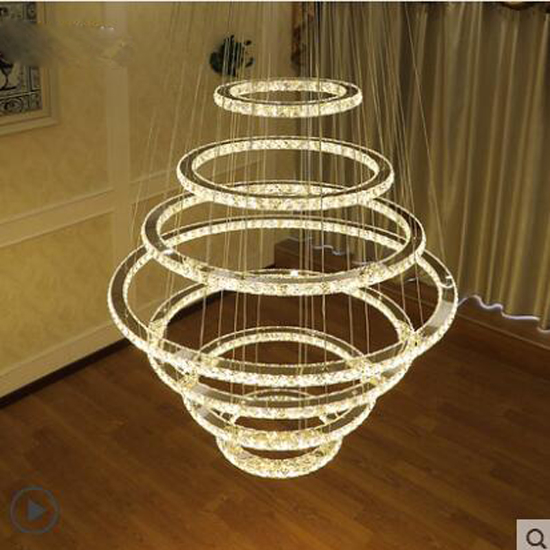 Hotel Club Lobby Luxurious Atmosphere Personality Modern Simple Villa Parlor Warm European Crystal Hanging Lamp led ceiling lamp