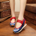 New autumn quality rubber canvas shoes women 5CM wedge heels fashion Vintage Colorful waves embroidery ladies pumps shoes