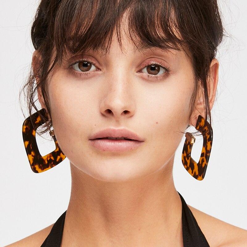 Vintage Fashion Women Acrylic Geometric Big Earrings Trendy Leopard Print Resin Statement Earrings Statement Jewelry Party Gift