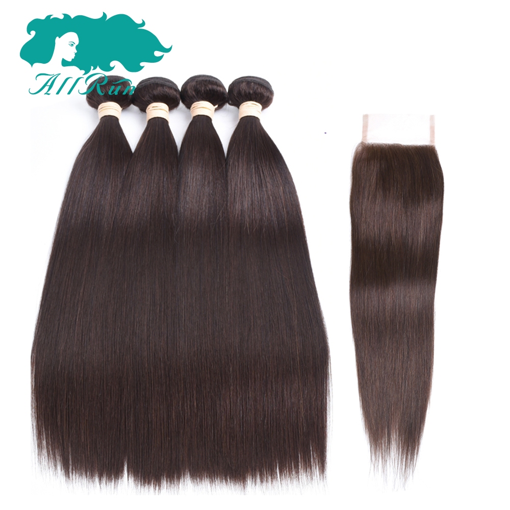 Allrun Pre-Colored Malaysian Straight Hair 3 bundles With Closure 4*4 100% Human Hair extensions 2# Non-remy