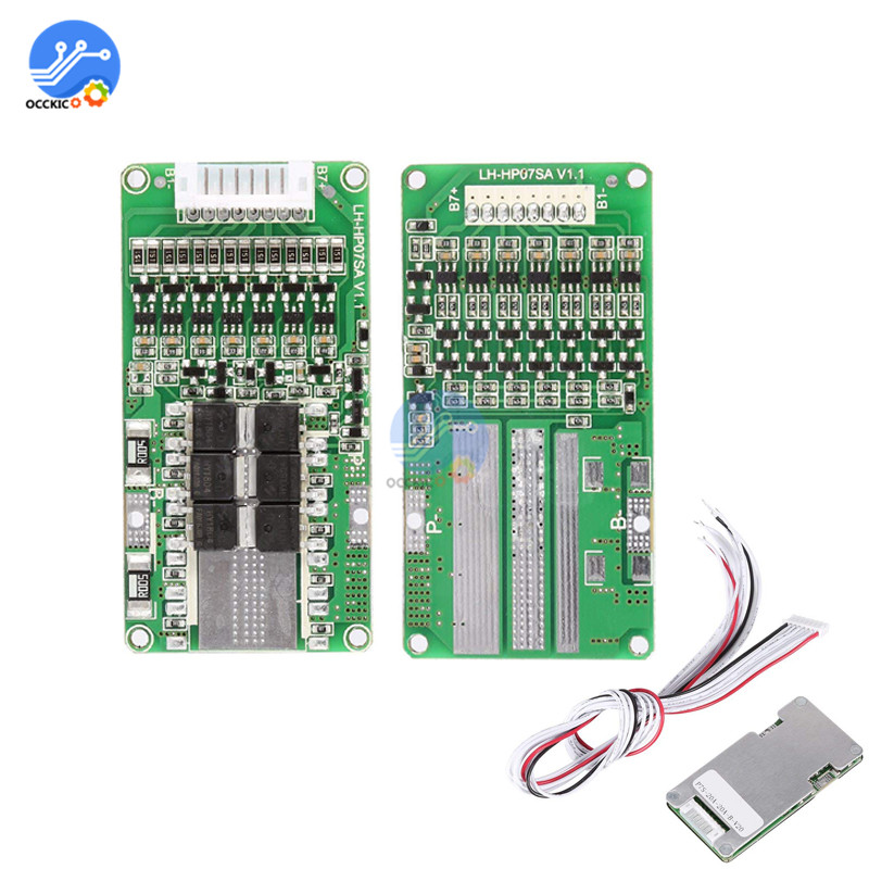 Bms 7S Lithium Li-ion LiFePO4 Battery Protection Board 24V 20A Battery Balancer Module Atmega Bms Lifepo4 Equalizer Board