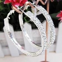 Модные 1 пара, новые хрустальные стразы, Преувеличенные Роскошные большие круглые серьги, Женское кольцо для ушей