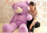 stuffed animal teddy bear lavender bear plush toy huge 160cm doll about 63 inch throw pillow l8785