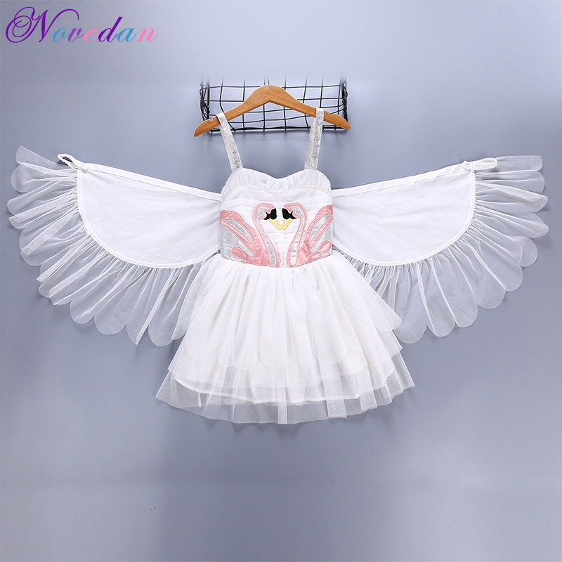 Girls White Swan Lake Ballet Tutu Party Dress With Removable Wings Birthday Angel Princess Halloween Costume Kids Cosplay Dress