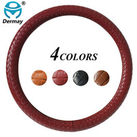 DERMAY NEW Car Steering Wheel Cover Faux Leather Braided Classic Car Covers Fit Most Car Styling