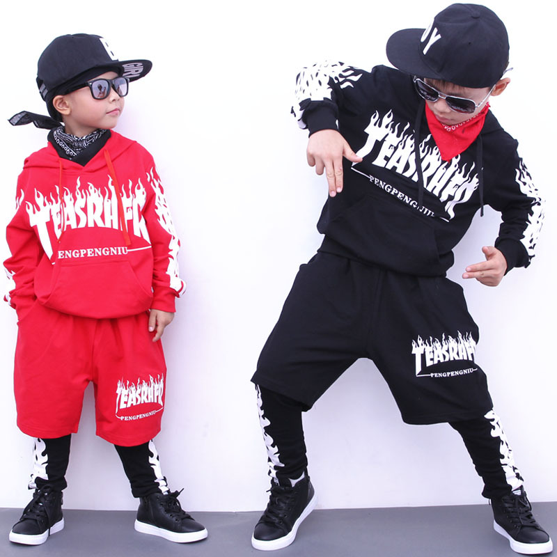 Boys Hoodie and Pant Sets Girls Street Dance Clothes Kids Hip Hop Costumes Dance Wear Children Sport Suits Cool Tracksuit 4 pieces new fashion print cool boys girls clothing set cotton t shirt hip hop dance pants sport clothes suits kids outfits