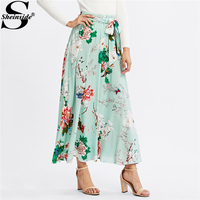 Sheinside Self Belted Floral Printed Knot Skirt Female Spring High Waist Fit And Flare Vacation Skirt
