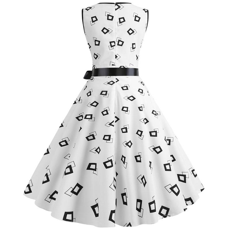 Plus Size Women Dress 2020 Summer Casual Sleeveless V Neck Print Slim Office Party Dress Dresses Elegant Vintage Vestidos Robe 3