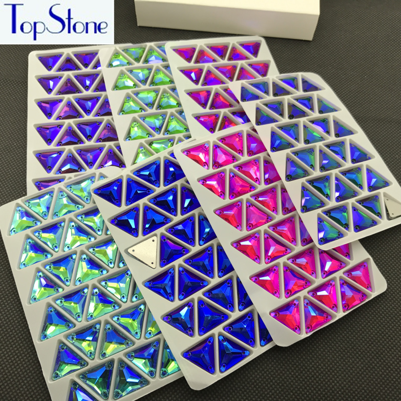12mm Triangle Rhinestones All Colors AB 48pcs Glass Crystal Sew-on Stone Flatback Sewing For Dress,Clothing DIY Garment