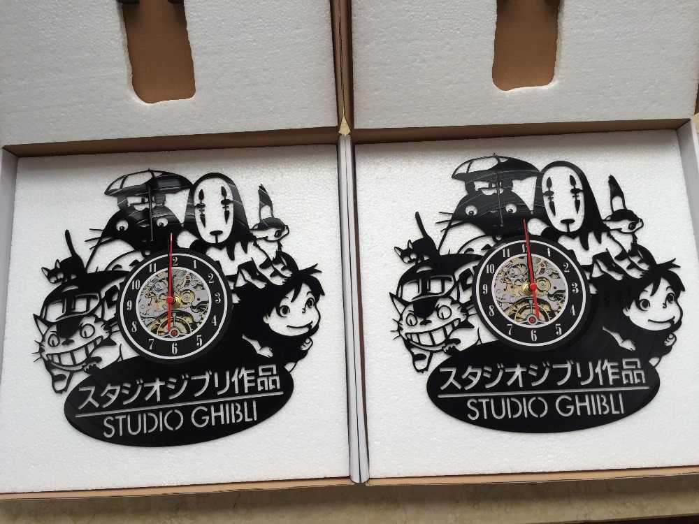 2017 New Cd Vinyl Record Wall Clock Modern Spirited Away Studio Ghibli Anime Wall Watch Home Decor Classic Clock Relogio Parede Relogio Parede Wall Clockwall Clock Modern Aliexpress
