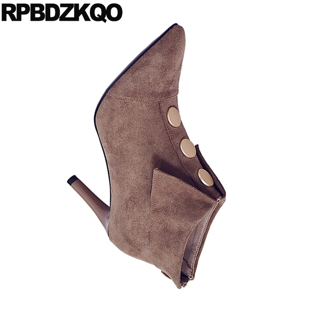 Suede High Heel Autumn Booties Designer Shoes Women Luxury 2018 Metal Short Size 4 Sexy Stiletto Fall Pointed Toe Boots Brand