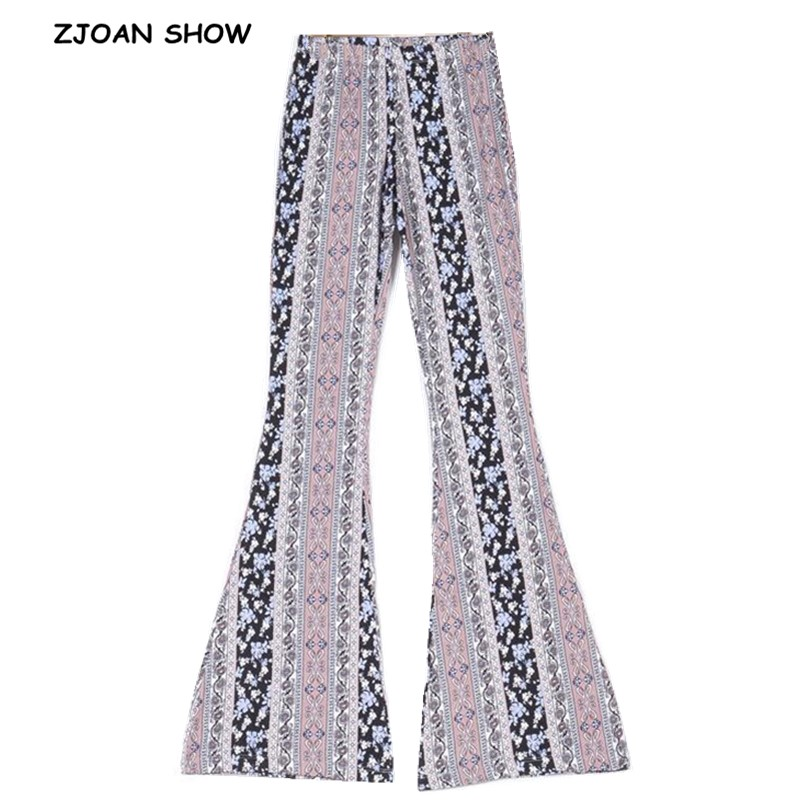 2019 Ethnic Geometric Print Flare Pants Pink Sexy Women Bohemian Tribal African Hippie Pants Bell Leggings Bottom Long Trousers