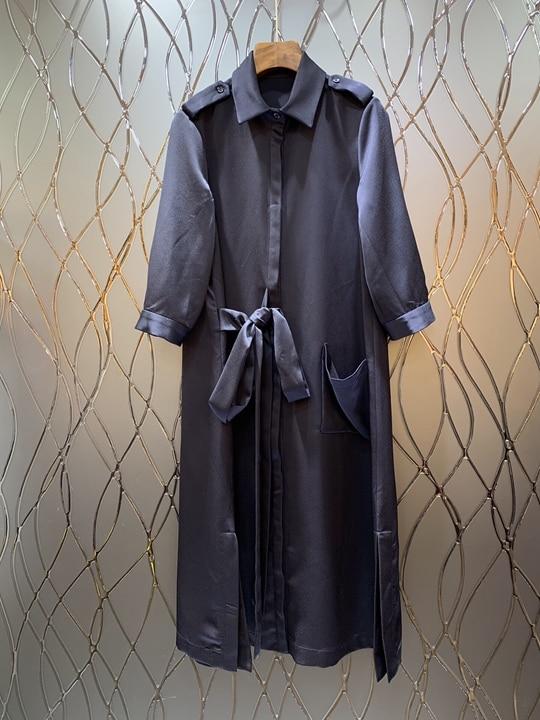 Manches D'été Printemps Chemise Robe Fille Cravate Bleu blanc noué Et Dress0309 2019 De Long Nouvelle À DEbH9eW2IY