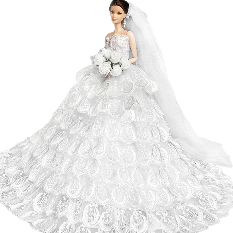 Saleaman precioso vestido de novia hecho a medida para la muñeca - Muñecas y accesorios - foto 4