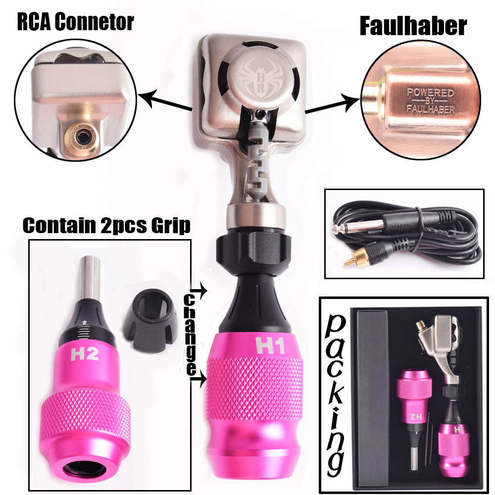 1pc RCA Rotary Tattoo Machine Electric Faulhaber Motor Rotary Tattoo Machine With 2pcs Cartridge Tattoo Grips