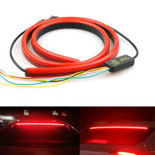 JURUS Unverisal 100CM Red Led Flowing Lights Car Additional Brake Light Flexible LED High Mount Stop Light With Turn Signal DRL